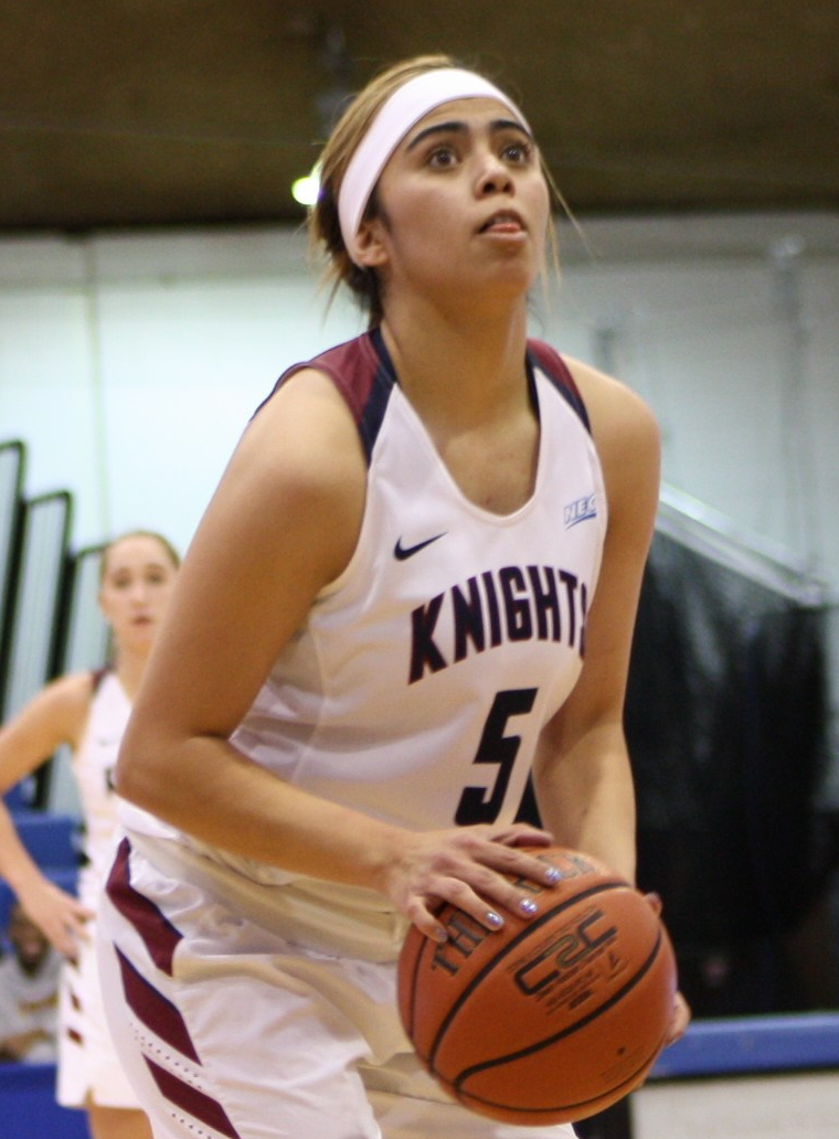 Natalie Zamora a 5-8 senior guard from Albuquerque, N.M. was a perfect 7-for-7 from the free-throw line against Bryant Monday night