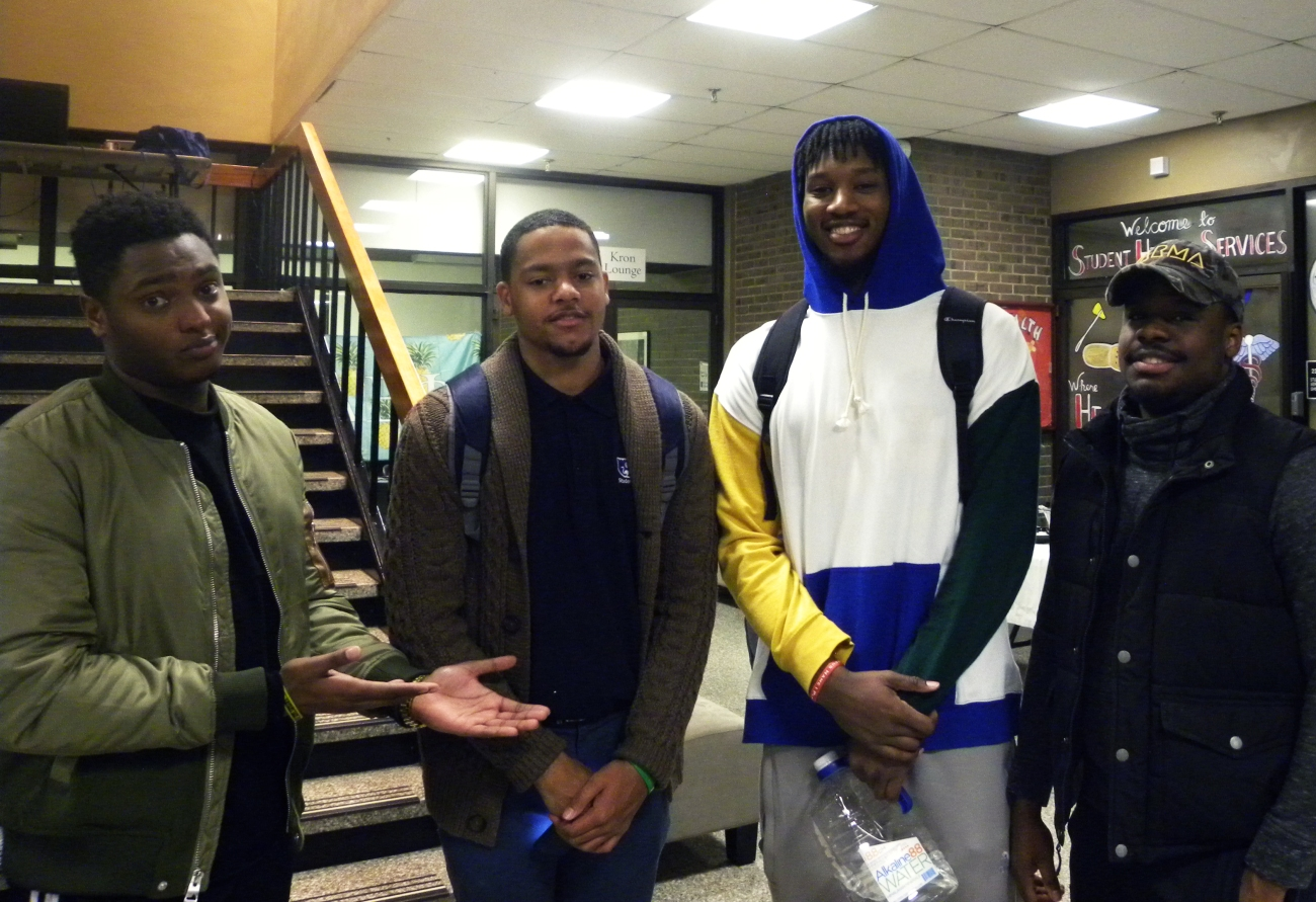 Dante Phillips, Grad student; Kyle Colemon; Kaleb Bishop; Mauric, senior.jpg