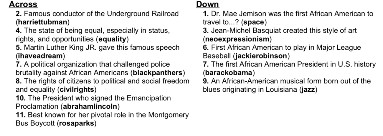BHM Crossword answers