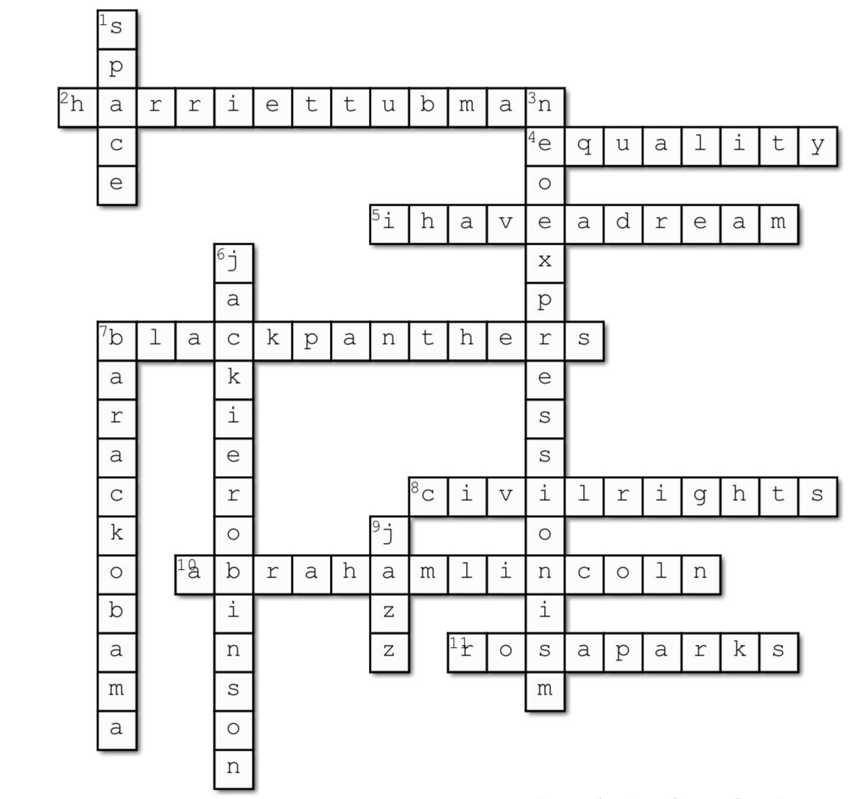 BHM Crossword answers2